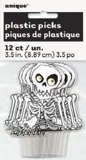 12 Plastic Skeleton Food Decorations